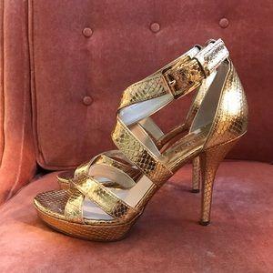 Michael Kors Gold Snakeskin Heels
